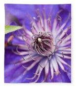 Pretty Purple Clematis Fleece Blanket