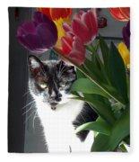 Princess The Cat And Tulips Fleece Blanket