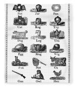 Printers Cuts, 1825 Fleece Blanket