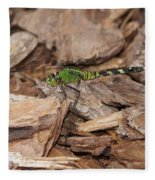 Profile Of Green Dragonfly Fleece Blanket