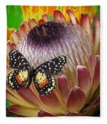 Protea With Speckled Butterfly Fleece Blanket
