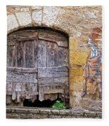 Provence Window And Wall Painting Fleece Blanket