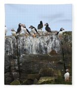 Puffins On A Cliff Edge Fleece Blanket