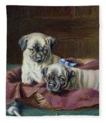 Pug Puppies In A Basket Fleece Blanket