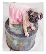 Pug Puppy Pink Sun Dress Fleece Blanket