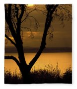 Pugent Sound Silhouetted Tree Fleece Blanket