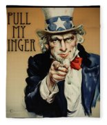 Pull My Finger Poster Fleece Blanket