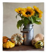 Pumpkins And Sunflowers Fleece Blanket
