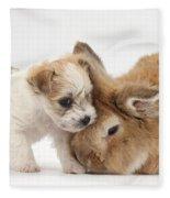 Pup And Rabbit Fleece Blanket