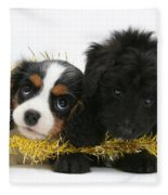Puppies With Tinsel Fleece Blanket