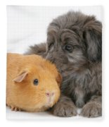 Puppy And Guinea Pig Fleece Blanket