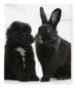 Puppy And Rabbit Fleece Blanket