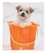 Puppy In Bucket Fleece Blanket