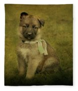 Puppy Sitting Fleece Blanket
