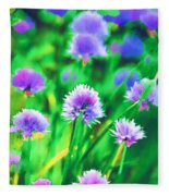 Purple And Green Chive Watercolor Fleece Blanket