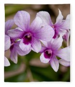 Purple And White Orchids Fleece Blanket