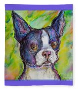 Purple Boston Terrier Fleece Blanket