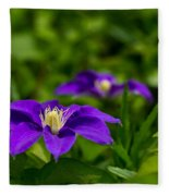 Purple Clematis Flower Fleece Blanket