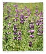 Purple Flower Field Fleece Blanket