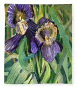 Purple Irises Fleece Blanket