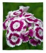 Purple On White Flowers Fleece Blanket