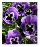 Purple Pansies Square Fleece Blanket