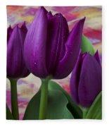 Purple Tulips Fleece Blanket