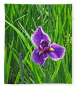 Purple Water Iris Fleece Blanket