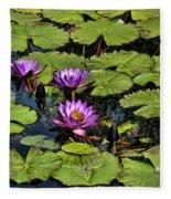 Purple Water Lilies - Nymphaea Capensis  Fleece Blanket