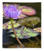Purple Water Lilly Fleece Blanket