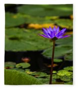 Purple Waterlily Fleece Blanket