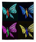 Quad Butterflies Fleece Blanket