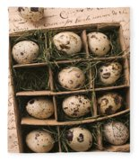 Quail Eggs In Box Fleece Blanket