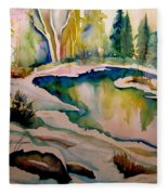Quebec Winter Landscape Fleece Blanket
