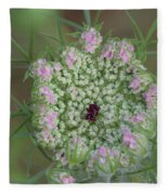 Queen Anne's Lace Flower Partly Open With Dew Fleece Blanket