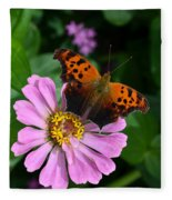 Question Mark Butterfly And Zinnia Flower Fleece Blanket