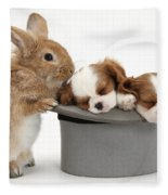 Rabbit And Spaniel Pups Fleece Blanket