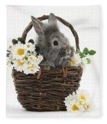 Rabbit In A Basket With Flowers Fleece Blanket