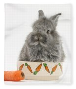 Rabbit In A Food Bowl With Carrot Fleece Blanket