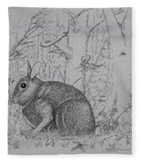 Rabbit In Woodland Fleece Blanket