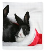 Rabbits In Hat Fleece Blanket