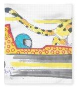 Race Car And Cheetah Cartoon Fleece Blanket