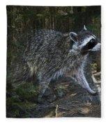 Racoon Emerging From The Woods Fleece Blanket