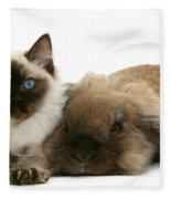 Ragdoll Kitten And Lionhead Rabbit Fleece Blanket