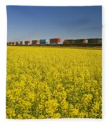 Rail Cars Carrying Containers Passe Fleece Blanket