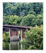Railroad Bridge At East Falls Philadelphia Fleece Blanket