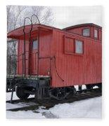 Railroad Train Red Caboose Fleece Blanket