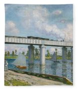 Railway Bridge At Argenteuil Fleece Blanket