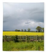 Rain Clouds Over Canola Field Fleece Blanket