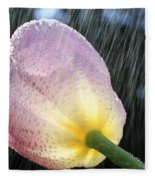 Rain Falling On A Tulip Fleece Blanket